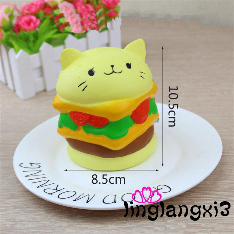 .GL-Squishy Hamburger Cat Slow Rising Soft Squeeze Stress Reliever Scented Toys