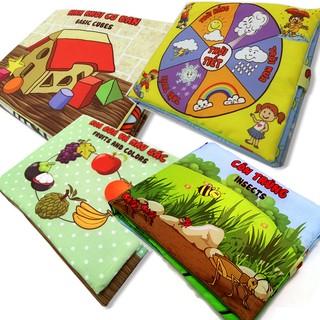 Bộ 4 sách vải Pipovietnam (Hình Khối, hoa quả, thời tiết, côn trùng)