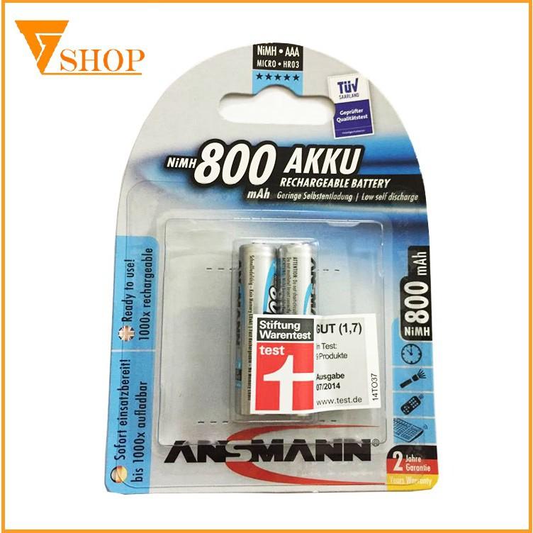 1 vỉ pin sạc AAA Ansmann 800mAh ( 1 vỉ 2 viên )