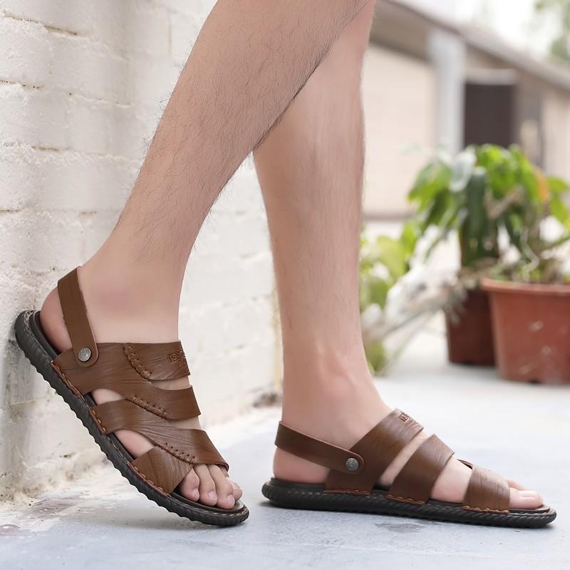 【จัดส่งฟรี】าพ 38 รองเท้าแตะหนังรองเท้าชายหาดน้ำสบาย ๆ โรมรองเท้าแตะผู้ชายเวียดนาม