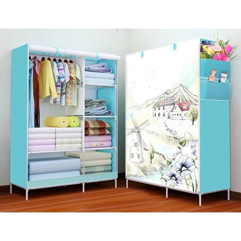 Tủ vải cao cấp 3D 2 buồng 6 ngăn - Tủ quần áo - Tủ vải quần áo 3D