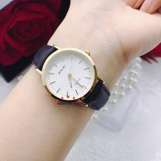 Đồng hồ Nữ dây da Halei máy Nhật chính hãng chống xước