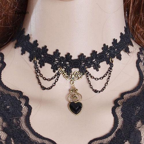 Vòng cổ choker ren mặt hình trái tim phối tua rua phong cách Gothic dành cho