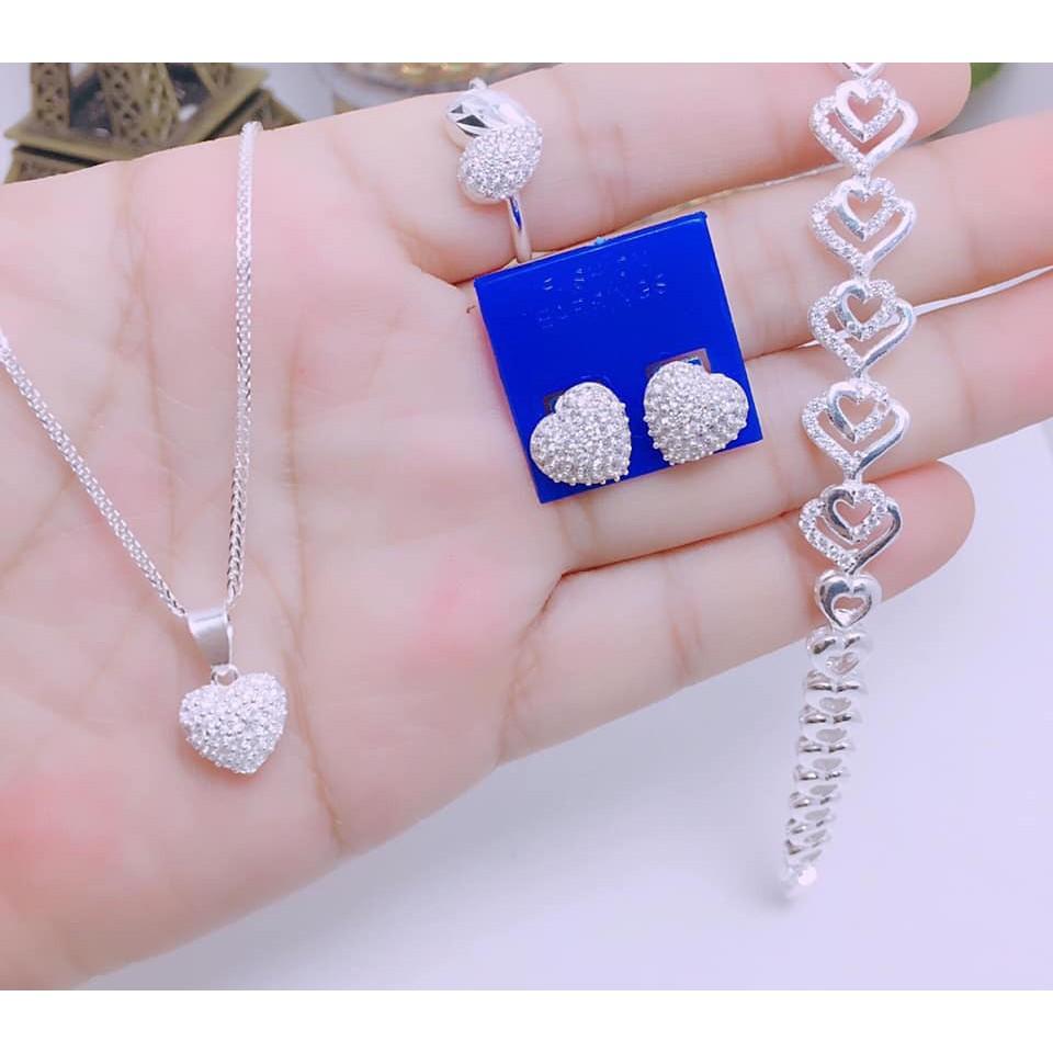 Bộ trang sức bạc nữ trái tim BBN211