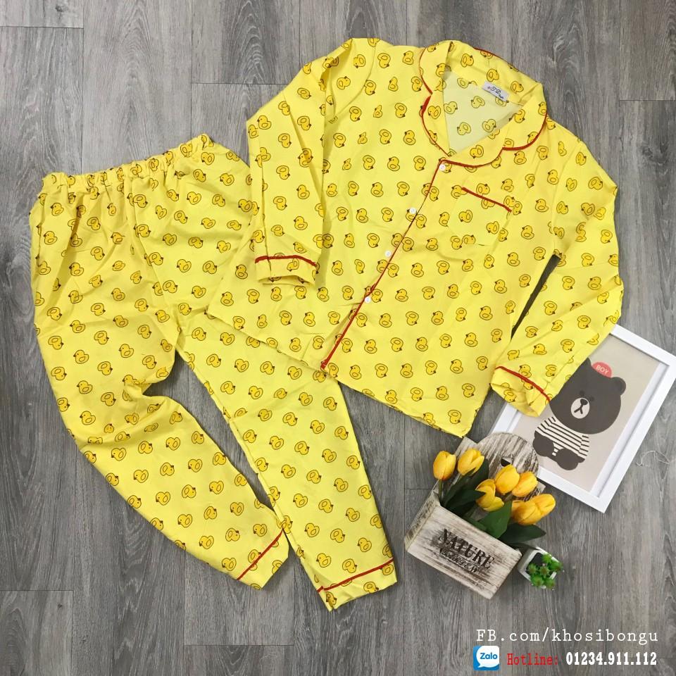 Bộ ngủ Pijama tay dài quần dài có viền dưới 60kg
