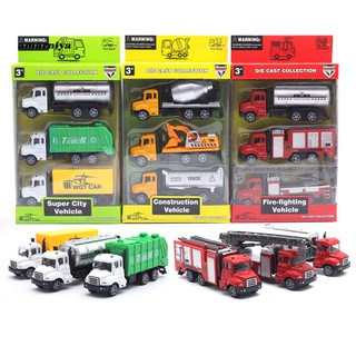 AY-ᴥ3Pcs 1/50 Simulation Transport Fire Engineer Truck Car Pull Back Model Kids Toy