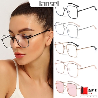 ❤LANSEL❤ Fashion Anti-Blue Light Glasses Vintage Eye Protection Glitter Eyeglasses Women Portable Oversized Computer Square Ultra Light Frame