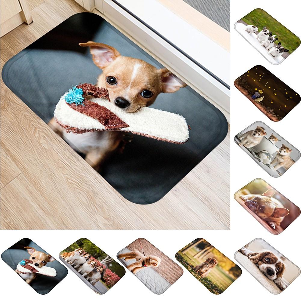 Thảm chùi chân chống trượt hiệu ứng hình con chó 3D