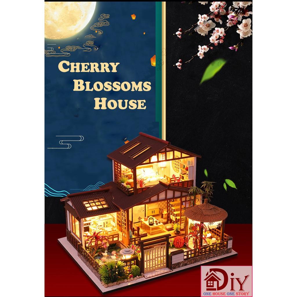 Mô hình nhà búp bê lắp ráp bằng gỗ DIY CHERRY BLOSSOMS HOUSE (Kèm dụng cụ keo + MICA + CÓT NHẠC) – Quà tặng tự làm