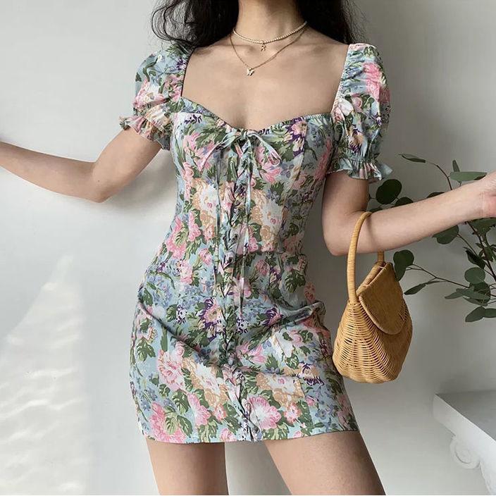 Mặc gì đẹp: Bồng bềnh với Đầm tay phồng cổ vuông thiết kế buộc dây họa tiết hoa thời trang xinh xắn cho nữ