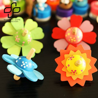BEAUTY~3inch Colorful Flower Spinning Top Handmade Gyro Developing Toy