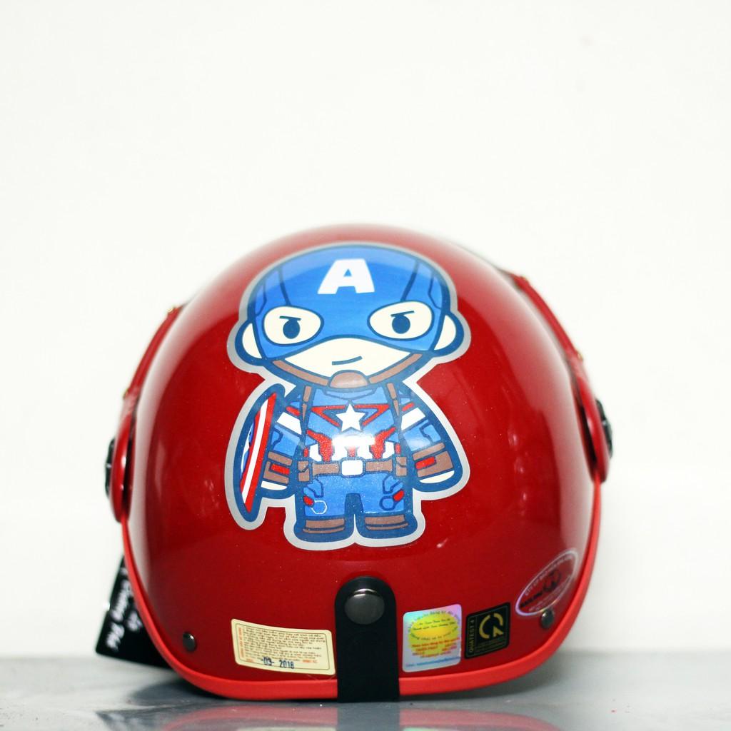 Mũ bảo hiểm cho bé Đại úy captain america Đỏ Hàng chính hãng bảo hành 2 năm
