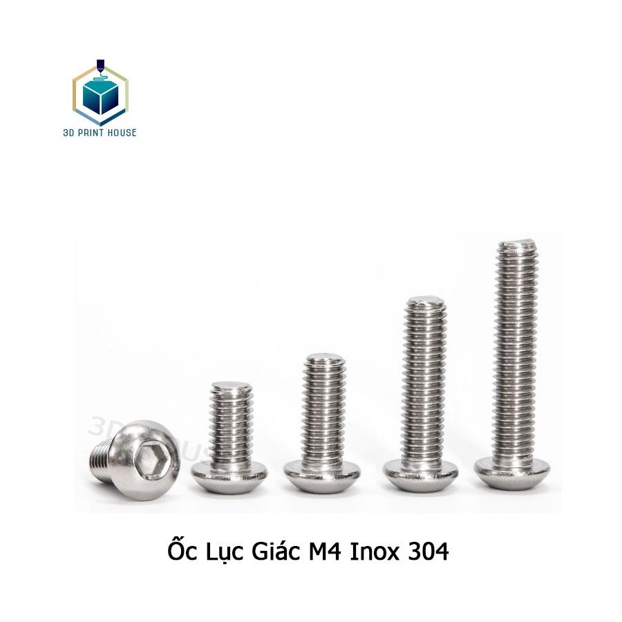 Ốc - Bulong Lục Giác Inox 304 M4 Đầu Dù - (10con)