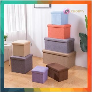 Ghế đôn dài đa năng kiêm ghế hộp đựng đồ Chorvy có thể gấp gọn chịu lực 100kg gọn gàng dành cho văn phòng chung cư thumbnail