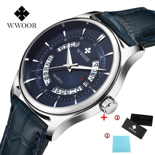 WWOOR Men's Sports Watches Waterproof Genuine Quartz Leather Strap Fashionable Stainless Steel - 8863