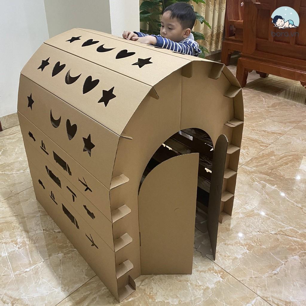 Nhà bìa carton cho bé, carton 3/5 lớp, chịu lực tốt, 86x76x95cm