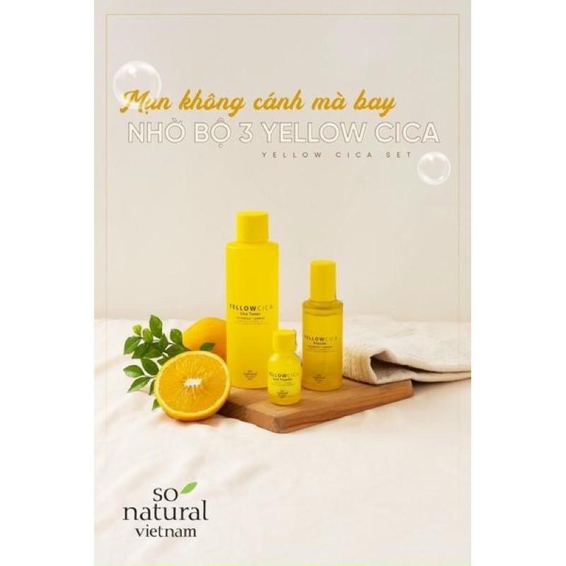 Combo Yellow CICA ngăn ngừa mụn dành cho mọi loại da.So Natural 100% hàng nhập khẩu từ Hàn Quốc giá rẻ