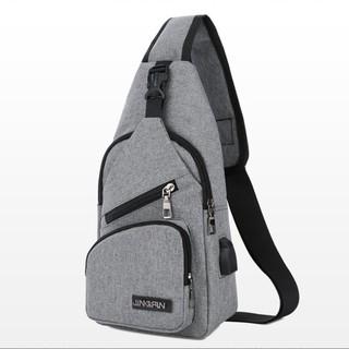 Túi đeo ngực vải thô, túi đeo chéo kèm dây USB – NEW