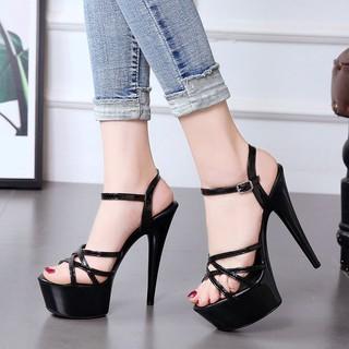 ♕Hate the sky high 15cm super heels stiletto sandals female summer waterproof platform sexy nightclub model catwalk women's shoes