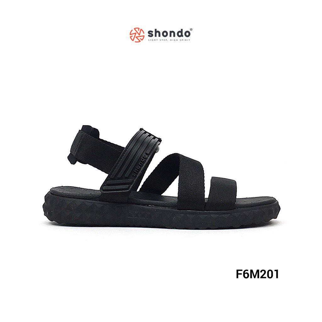 Giày Sandal Shat F6 SHONDO Full chéo đen Unisex - F6M201