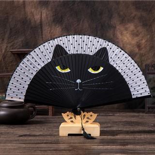 Quạt gỗ mèo đen cao cấp
