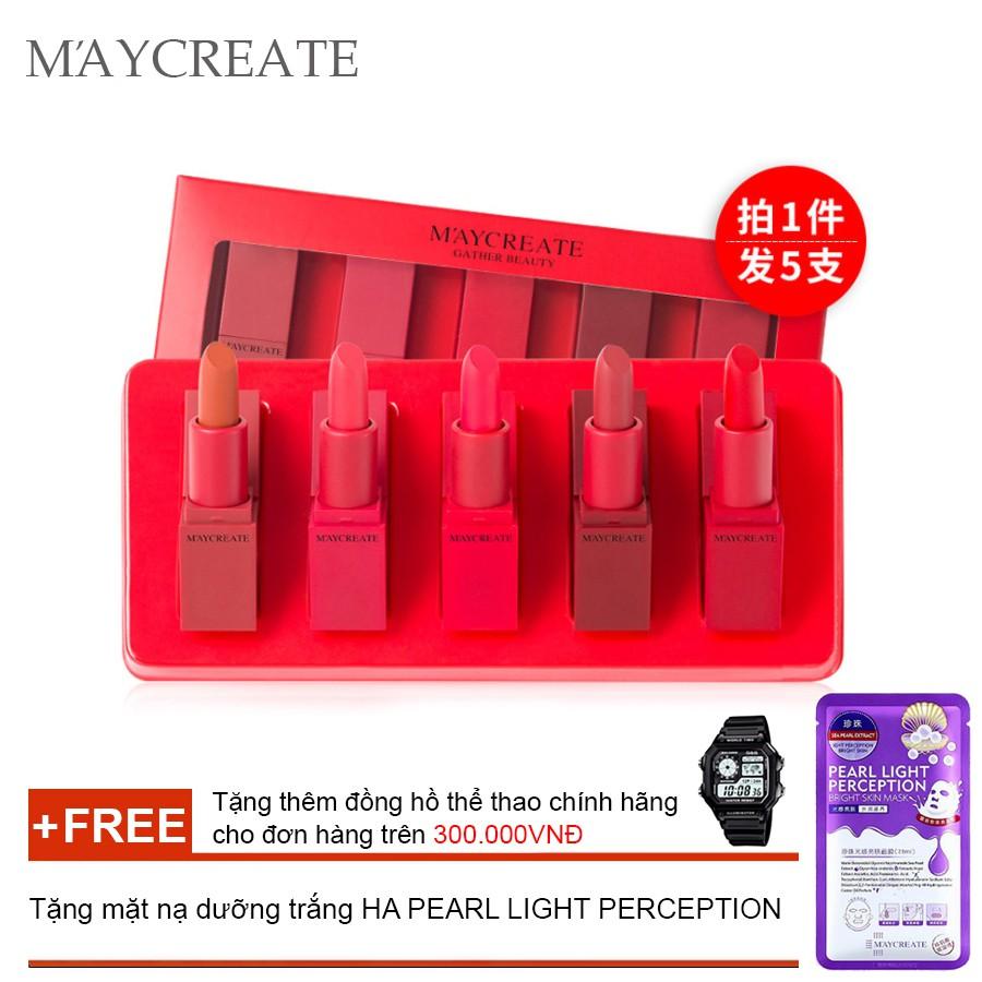 Bộ 5 thỏi son dưỡng ẩm Maycreate ( 5 thỏi son ) + Tặng mặt nạ cao cấp HA