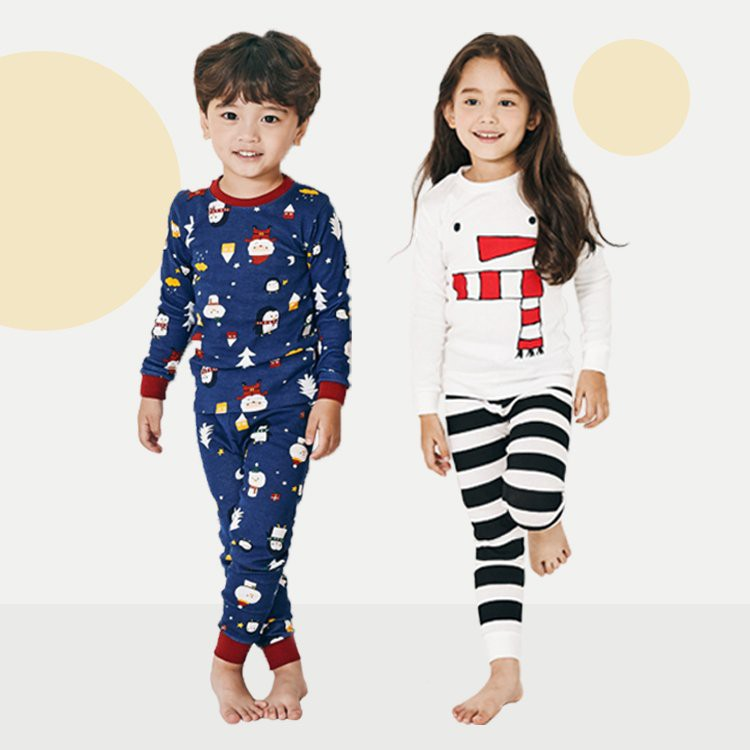 Đồ bộ giáng sinh cho bé trai, bé gái Unifriend Hàn Quốc UniT01, 100% cotton.
