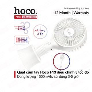 Quạt cầm tay Hoco F13 điều chỉnh 3 tốc độ, dung lượng 1500mAh, sử dụng 3-5h có giá đỡ tiện lợi tháo rời