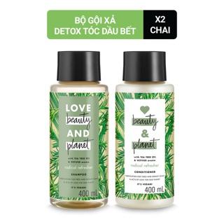 Combo Detox tóc dầu bết dầu gội dầu xả Love beauty and Planet 400ml chai