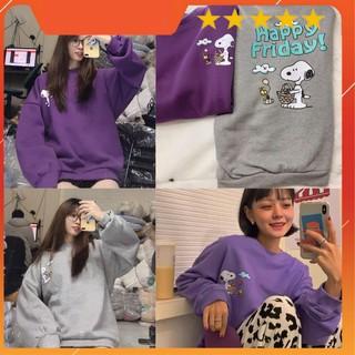 Áo sweater nỉ lót lông in hình chó happy puggy cực xinh form rộng kèm ảnh video thật thumbnail