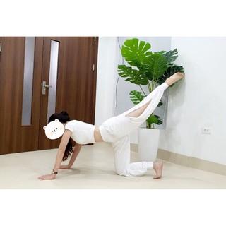Bộ Đồ Tập Yoga, Zumba – Quần Ống Xẻ , Dáng Alibaba Chất Co Giãn 4 Chiều, Thấm Hút Mồ Hôi
