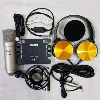 Combo mic ISK AT-100 + sound card k10 + tai nghe Sony XB450Ap