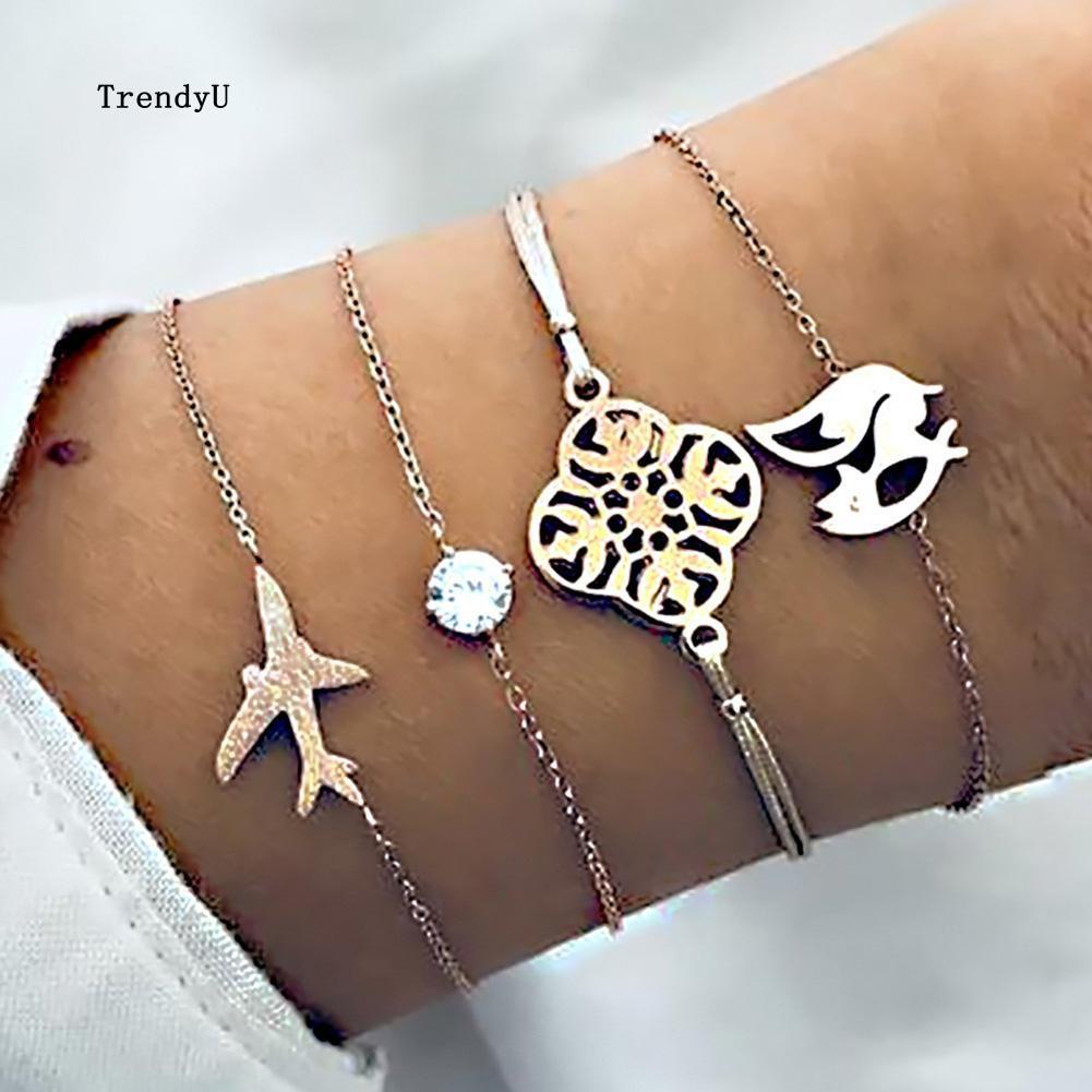 Bộ 4 vòng đeo tay sợi mảnh mặt hình con cáo máy bay hình hoa đính đá thời trang cho nữ