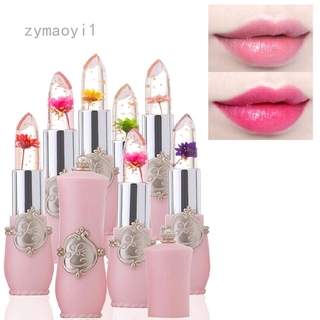 Zymaoyi1 Moisturizer Crystal Jelly Flower Lipstick Lip Balm Temperature Color Changing