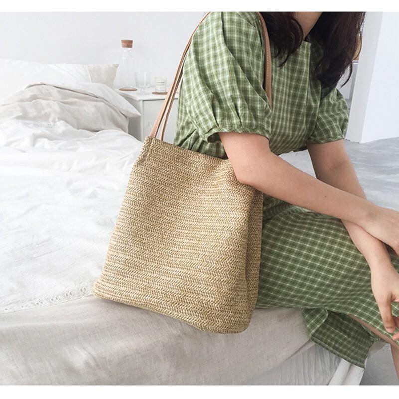Túi cói đi biển 🌸FREESHIP 50K🌸 Túi cói đi biển kiểu dáng Vintage dễ dùng