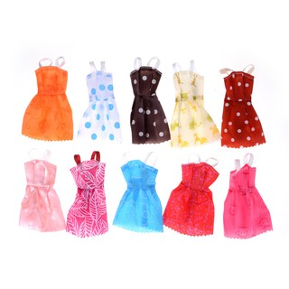 {NUV} 10Pcs/ lot Fashion Party Doll Dress Clothes Gown Clothing For Doll{LJ}