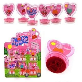6pcs Peppa Pig Cartoon Stamps Stamper Set Toy Gifts For Children