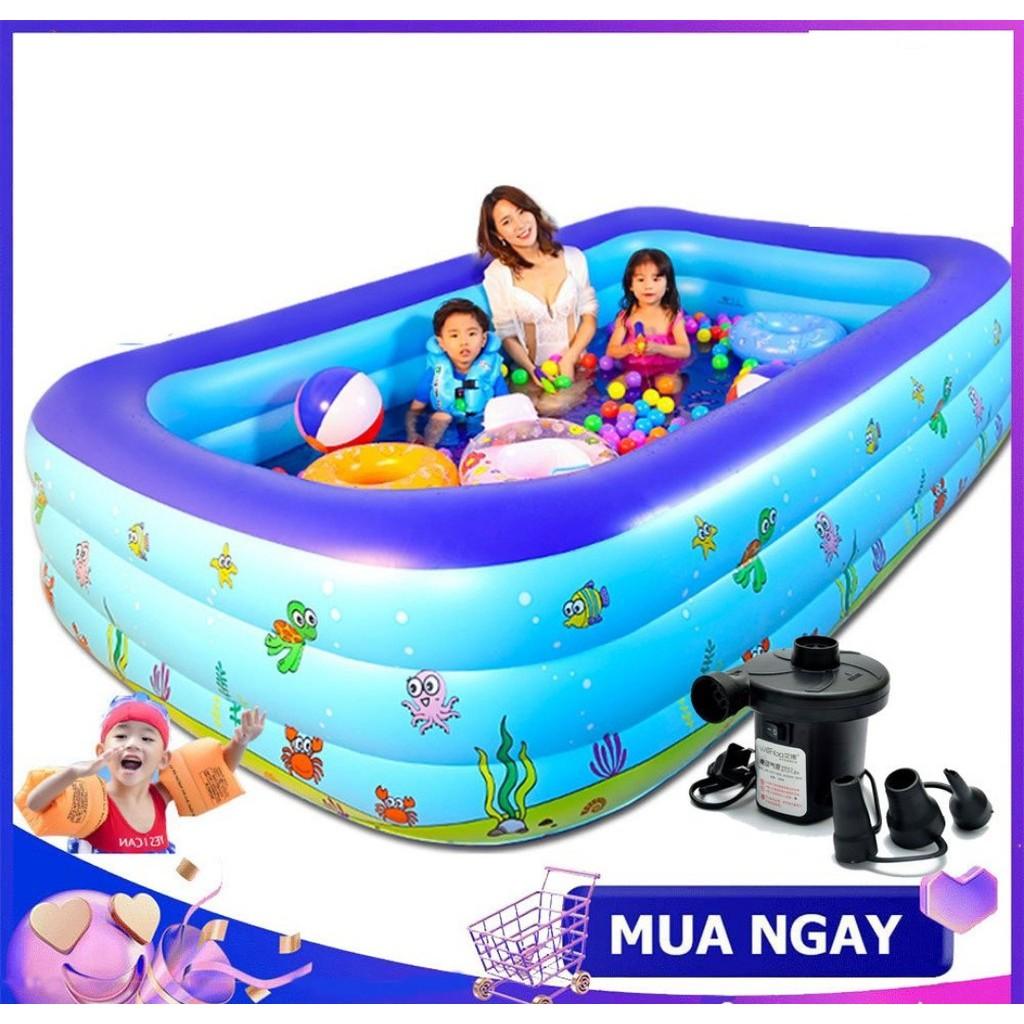 Bể bơi phao cho bé thành cao 3 tầng hồ bơm hơi ❤️Đủ Cỡ❤️ chất liệu dày có Bảo hành