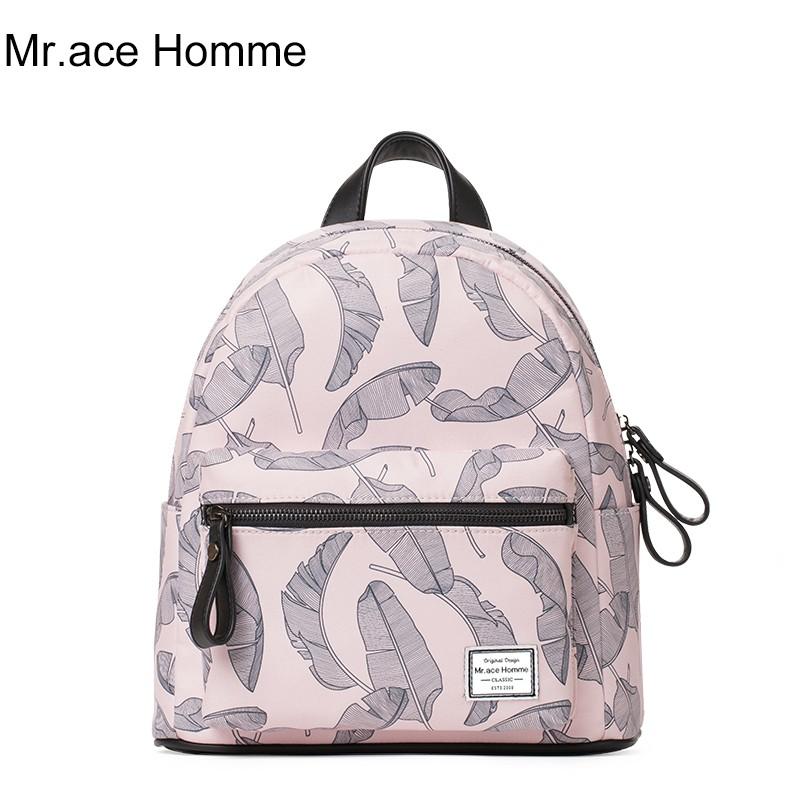 Balo Thời Trang Mini Lưng Da Size Trung Mr.ace Homme MR17C0862B01 / Hồng lá chuối