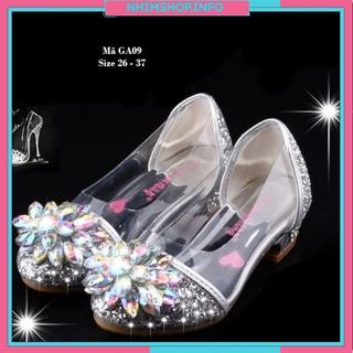 Giày cao gót cho bé gái 10 – 12 tuổi trong suốt lấp lánh – Giày thủy tinh guốc cao gót 4-5 phân điệu đà duyên dáng GA09