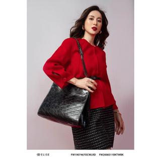 Áo dạ đỏ lông cừu vạt lệch Elise thumbnail