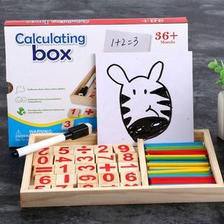Bộ dụng cụ học đếm số bằng gỗ (có kèm cả bản để vẽ hoặc viết) (