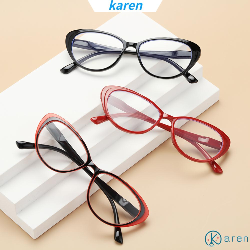 👗KAREN💍 Fashion Reading Glasses Women & Men Readers Eyewear Presbyopia Eyeglasses Round Floral Frame Ultra-clear Vision Anti Glare Vintage Spring Hinge red/red black/red