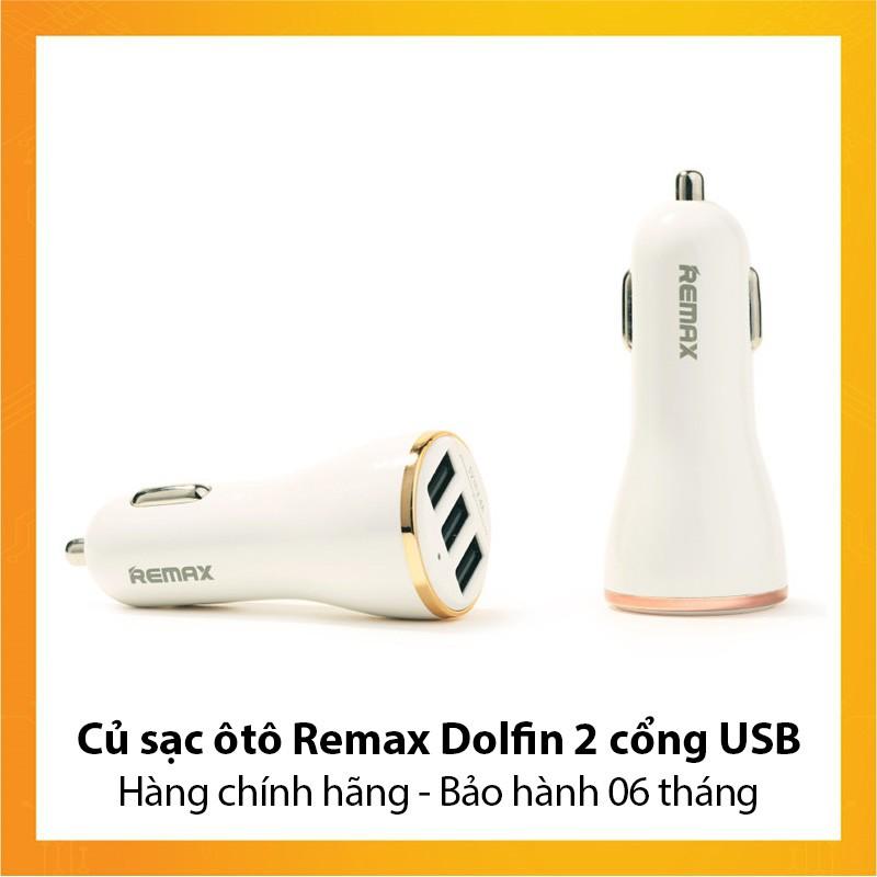 Củ sạc ôtô Remax Dolfin 3 cổng USB - Hàng chính hãng - Bảo hành 6 tháng