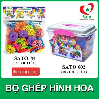 Bộ ghép hình hoa kính vạn hoa 78 chi tiết đồ chơi nhựa an toàn SATO