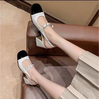 Sandal bít mũi vuông đen quai ngọc 7 phân hot 2021 thumbnail