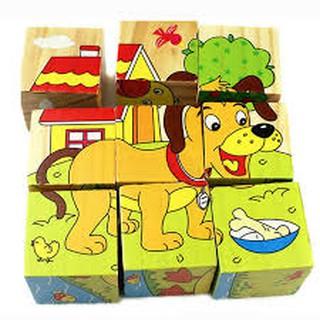 Ghép hình 6 mặt gỗ liền khối