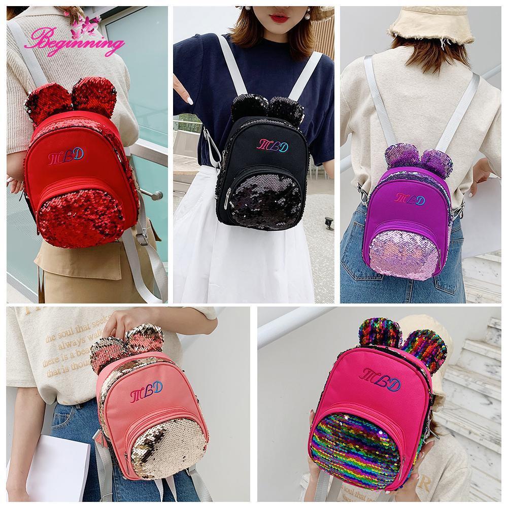 beginning👜Bear Ear Backpacks Women Nylon Sequins Shoulder School Bags Girls Knapsack