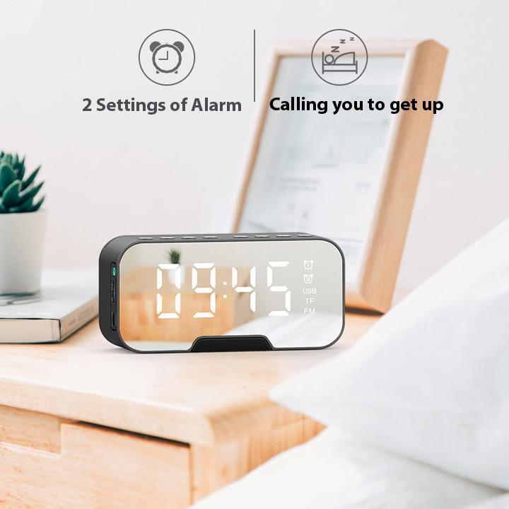 Loa bluetooth AMOI G5 | Nghe đài FM kiêm đồng hồ báo thức | Màn hình soi gương | Vỏ kim loại