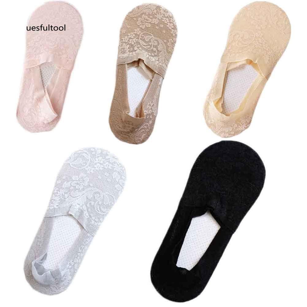ღues_1 Pair Women's Invisible Non-slip Loafer Lace Boat Liner Low Cut No Show Socks